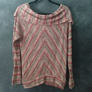 ELLA MOSS | Multi Stripe Cowl Neck Stretch Top